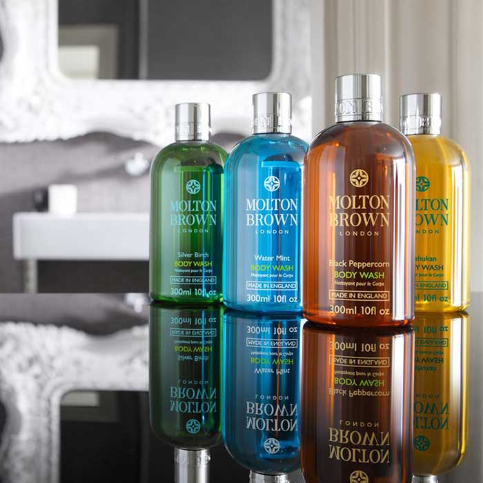 High-end bathroom amenities from Molton Brown. Go ahead, take one home!