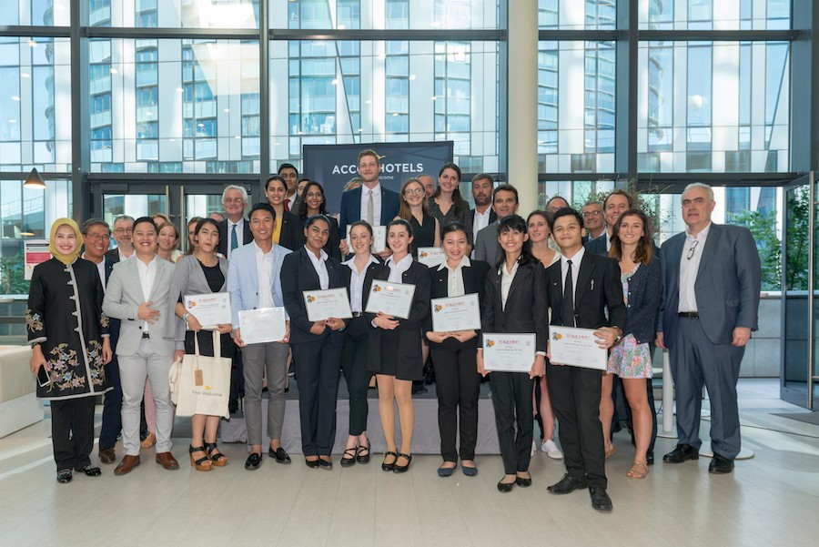 The finalists at Sequana International Head Office with the jury members